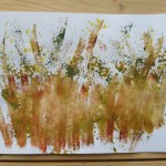 Watercolour images inspired by plants growing over a wainlap fence in the garden