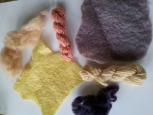 Natural dyed felt, yarn and fishing line