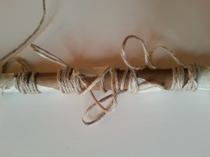Looped twine and masking tape