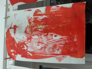 OCA MMT Assignment 4 - Monoprinting - Exercise One - Mark-making - Plastic lid