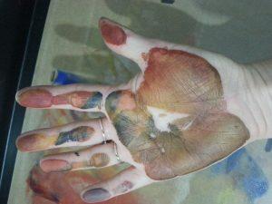 OCA MMT Assignment 4 - Monoprinting - Exercise One - Mark-making - Handprint
