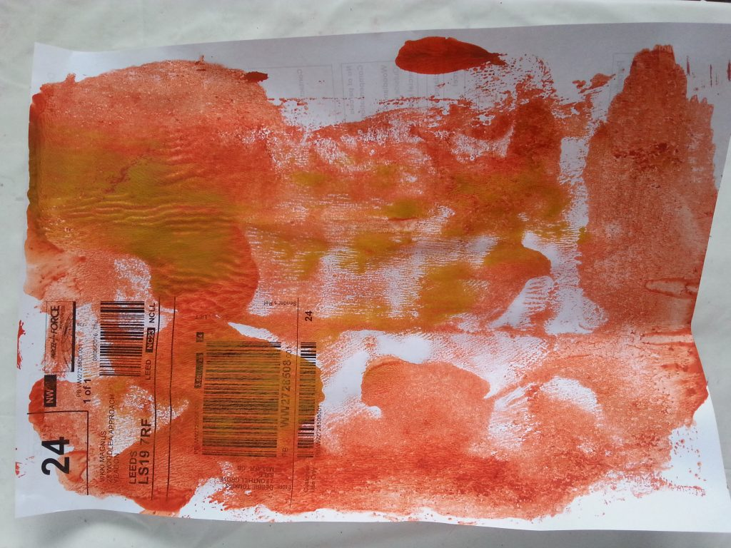 OCA MMT Assignment 4 - Monoprinting - Exercise One - Plastic lid