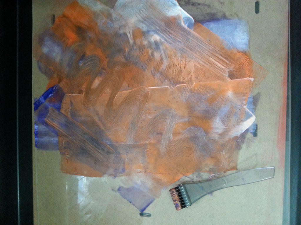 MMT Assignment 4 - Monoprinting - Exercise One - Mark-making - Hairdye brush