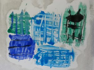 MMT Assignment 4 - Monoprinting - Exercise Three - Drawing on the plate - Lollipop stick