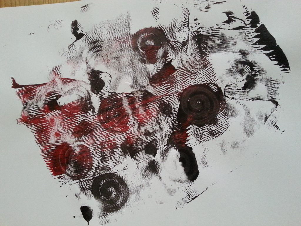 MMT Assignment 4 - Monoprinting - Exercise Two - Back Drawing - Rubber stamp